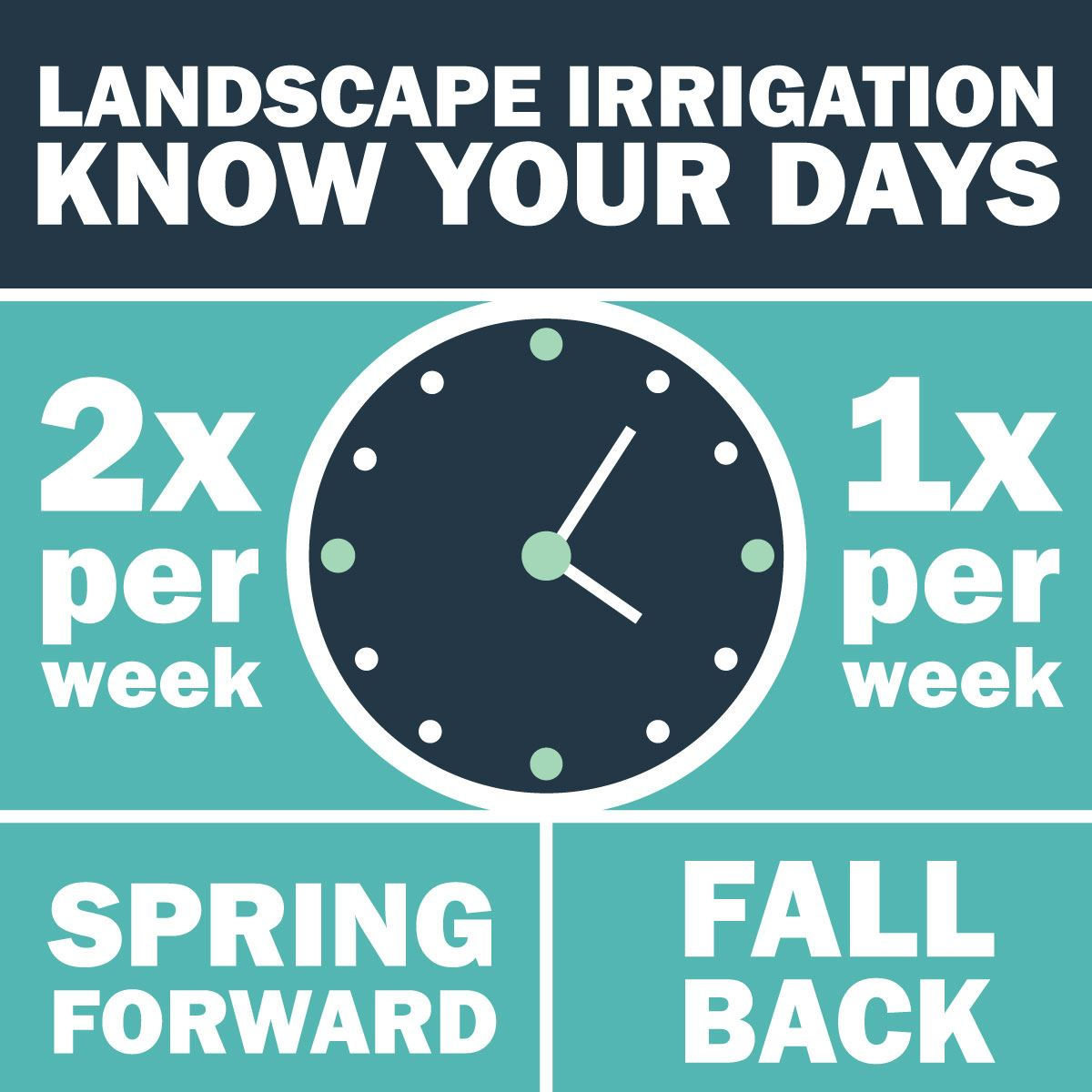 Irrigate your landscape twice per week when springing forward and once per week when falling back.